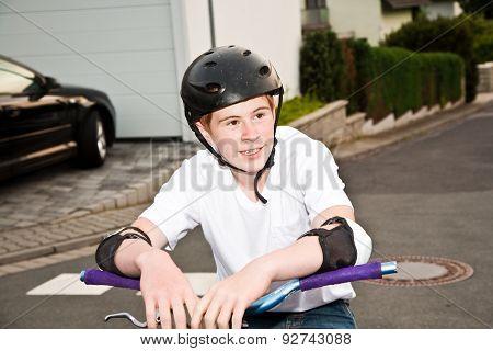Happy Smiling  Boy With Helmet, Proud Of His Bmx Stunts