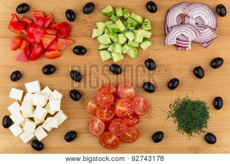 Ingredients Prepared For Greek Salad On Board