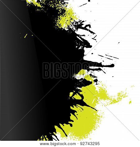 Vector Green And Black Paint Decorative Left Oriented Splash