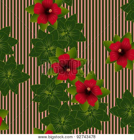 Seamless pattern of Red flower of hibiscus and green leave background