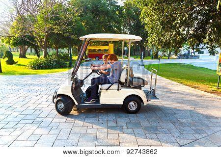 Boys Have Fun Riding An Electro Car