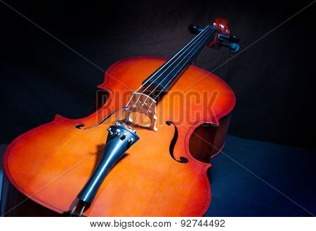Cello in full length and vertical position
