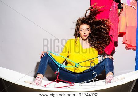 Attractive Beautiful Young Woman On Bathtub