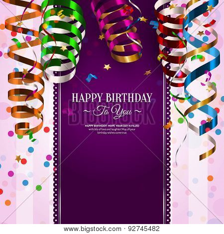 Birthday card with colorful curling ribbons, streamers.