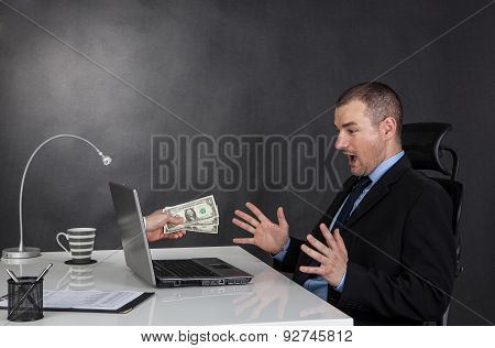 Businessman Earning Money On Network.
