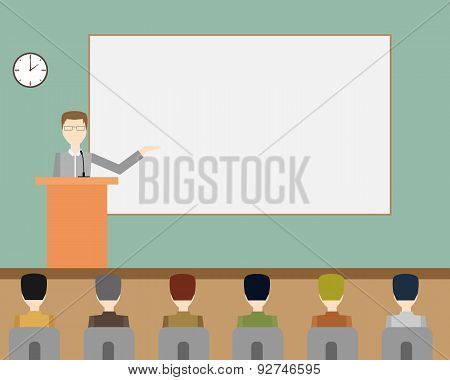 Businessman giving a presentation. Workplace. Vector illustration