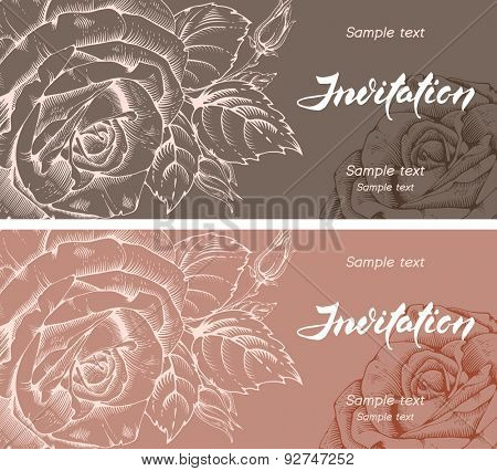 Vector floral cards in two color various, with engraved rose flowers and handwritten calligraphy inscription - Invitation.