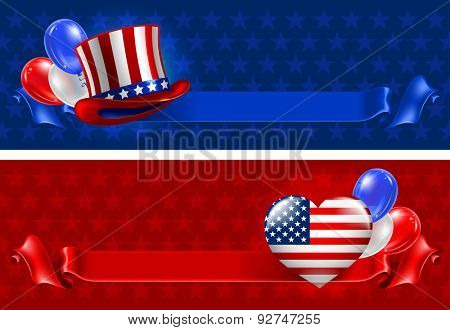 Independence day of United States of America  - festive vector cards with top hat, heart and balloons in national colors on star background