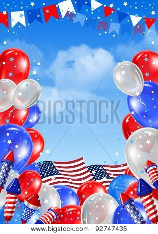 Independence day of United States of America  - festive vector card with rockets fireworks and balloon on blue sky background