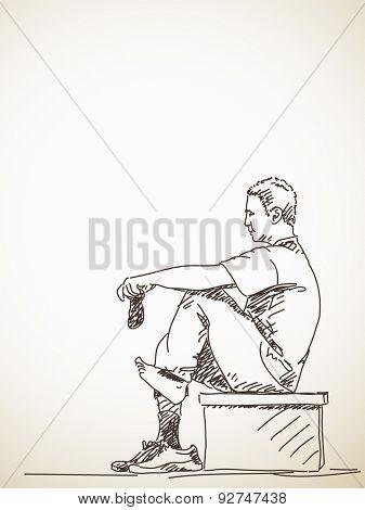 sketch of man, dress socks on his feet, Hand drawn illustration
