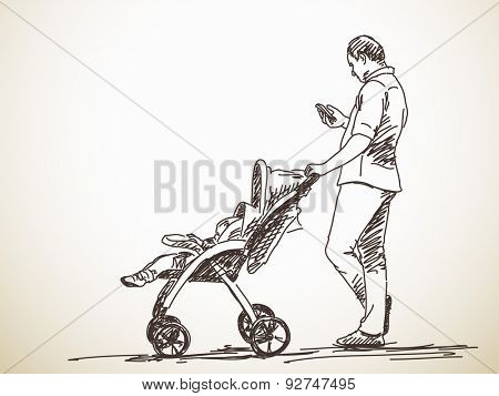 Sketch of man with baby carriage using smart phone, Hand drawn illustration