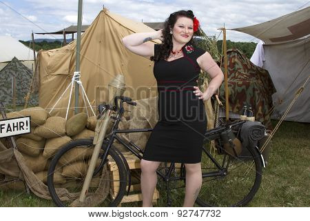 Pinup Modeling On Bike