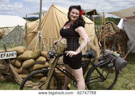 Pinup Riding Bike