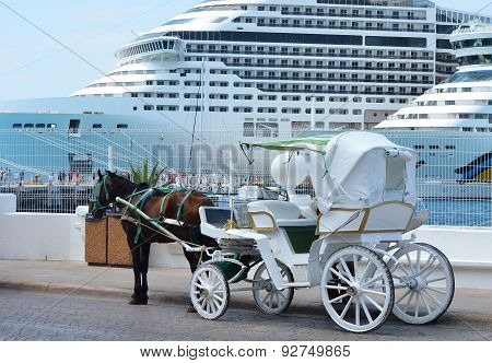 Horse Carriages In Front Of Cruise Liners
