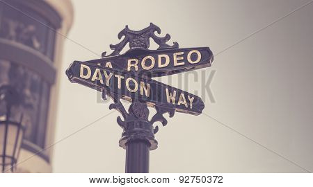 Classic Rodeo Drive street sign, Beverly Hills,CA,USA