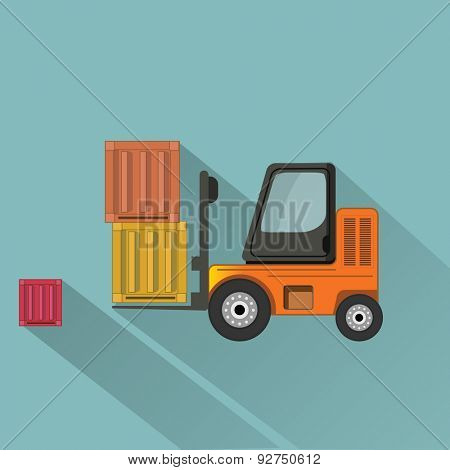 Loader with boxes flat vector illustration