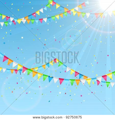 Pennants On Sky Background