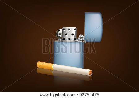 smoking cigarette and zippo
