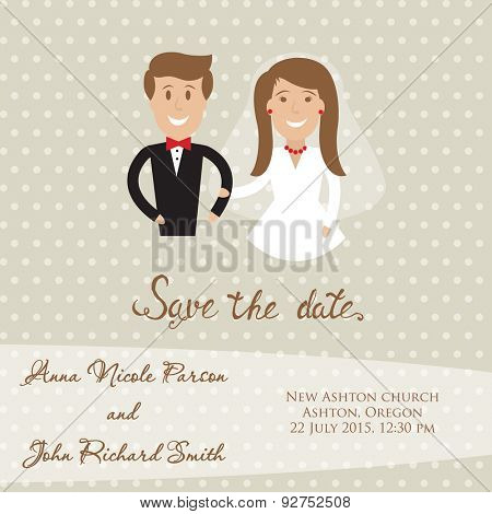 Wedding  card with newly wed couple. Save the date card with bride and groom.