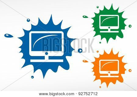 Vector Desktop Computer Color Blob