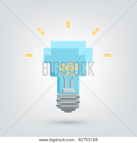 Pixel art light bulb with idea word.