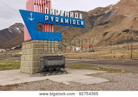 Exterior of the monument in the abandoned Russian arctic settlement Pyramidenm Norway.