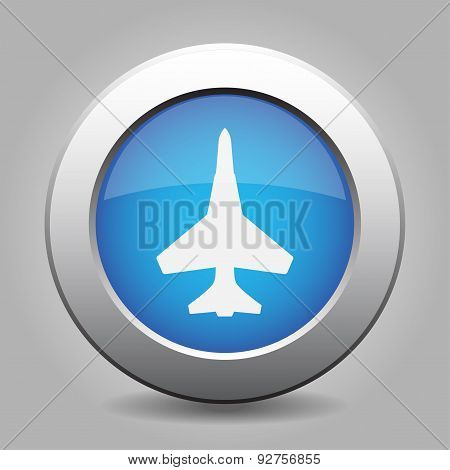 Blue Metal Button With Fighter