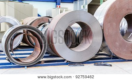 Cold Rolled Steel Coils Waiting Before Feeding To Machine