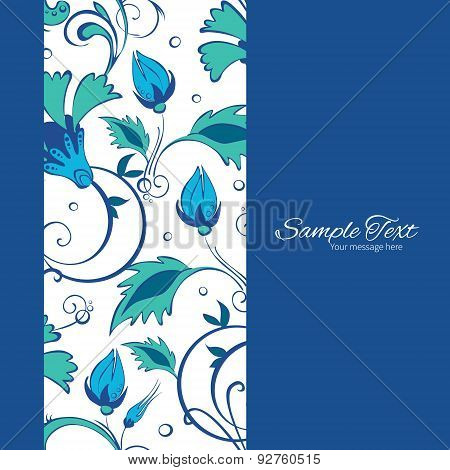 Vector Blue Green Swirly Flowers Vertical Frame Seamless Pattern Background