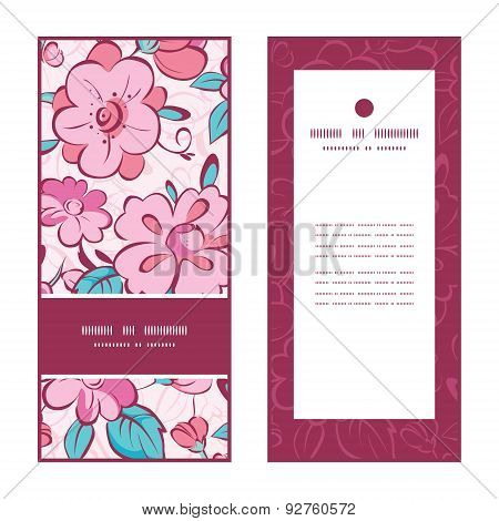 Vector pink blue kimono flowers vertical frame pattern invitation greeting cards set