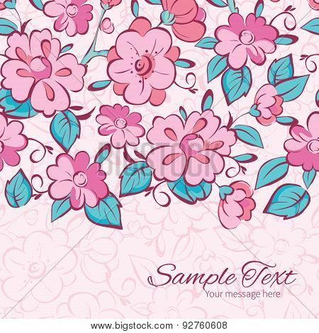 Vector pink blue kimono flowers horizontal border card template