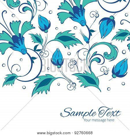 Vector blue green swirly flowers horizontal border card template