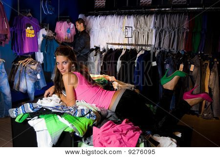 Pair Of Lovers In Dress Store