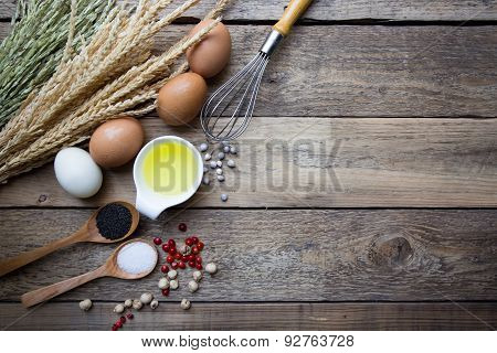 Food Ingredients , Kitchen Utensils For Cooking On Wooden Background
