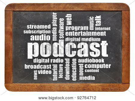 podcast word cloud on a vintage blackboard - digital radio concept