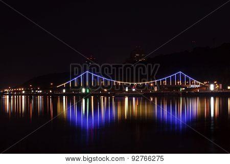 Bridge In Kyiv At Night