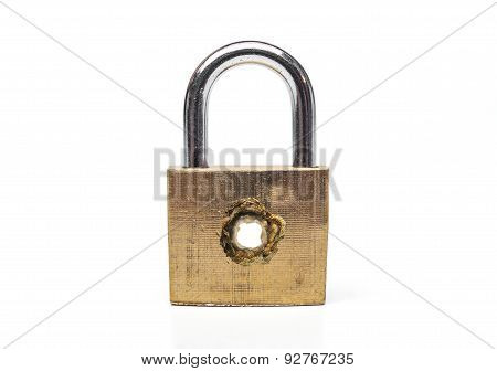 A security lock with a penetrated hole representing vulnerability on computer system / Bug on computer system