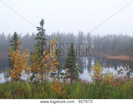 Picture or Photo of Foggy fall morning on the lake beautiful