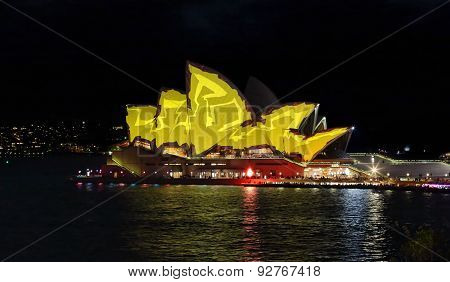 Sydney Opera House In Vivid Yellow