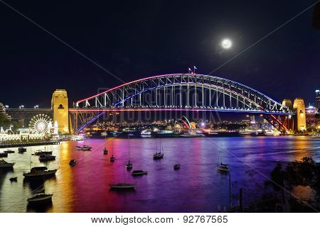 Vivid Sydney Harbour Bridge And City By Night