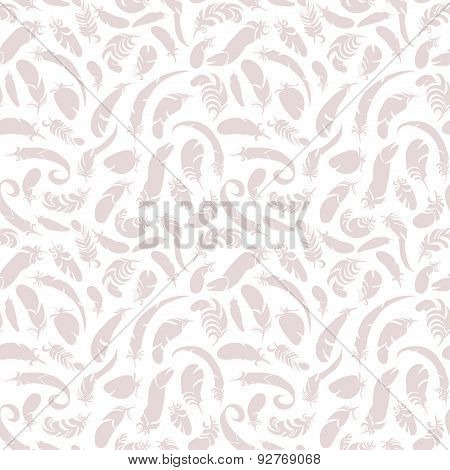 flying pink feathers seamless pattern. vector illustration