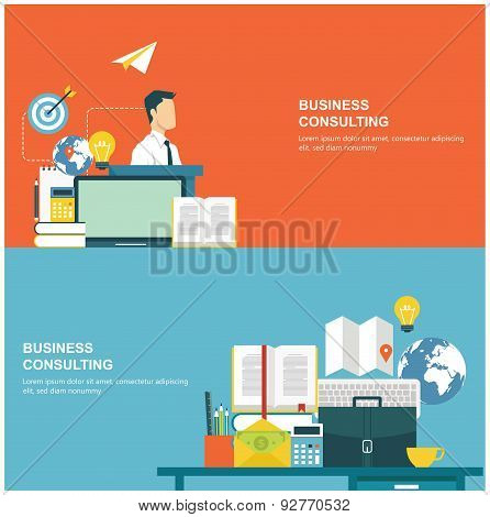 Concepts for web banners and promotions. Flat design concepts for business consulting