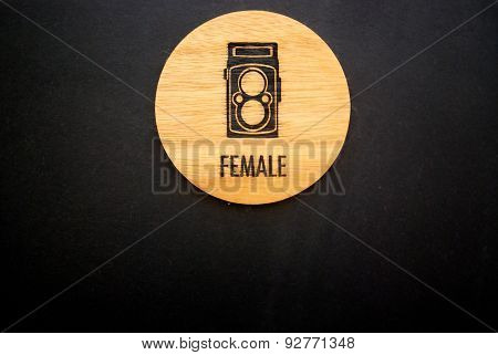Female Wood Label