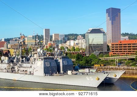 Downtown Portland And Navy Ships