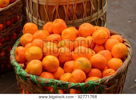 Real Organic Oranges At Market Stall