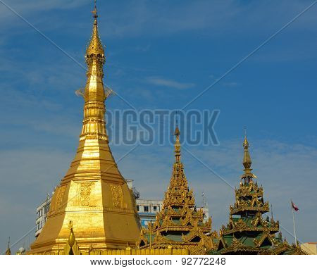 Top Of Golden Stupa At Sule Pagoda