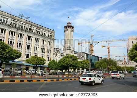 View Of Old Buildings In Yangon, Myanmar