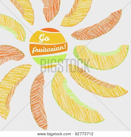 'Go Fruitarian!' card. Vegeterian banner with scratched melon slices.