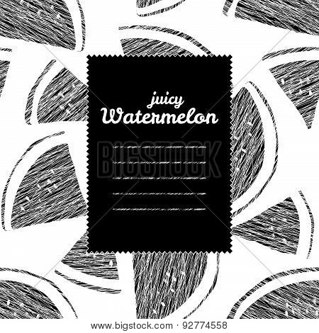 Text frame. Seamless watermelon background, endless fruit texture. Black and white backdrop.