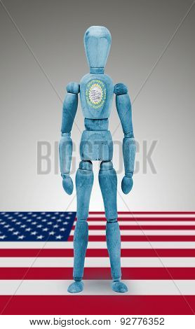 Wood Figure Mannequin With Us State Flag Bodypaint - South Dakota